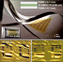 Bendable Electronics based on PolyDiMethylSiloxane (PDMS)